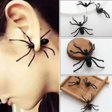 3D Halloween Creepy Black Spider Women Stud Earrings DIY Costume Decorations