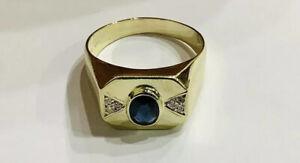 14k Gold, Blue Sapphire ,diamonds,Men's Gemstone Ring,size 11