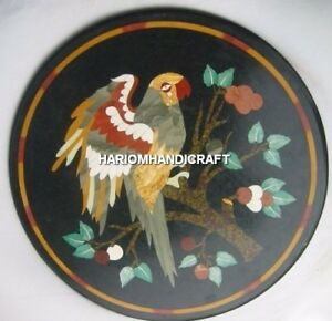 "15"" Black Marble Coffee Table Top Parrot Mosaic Inlay Hallway Decor Gift H4346"