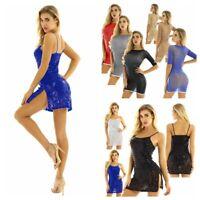 Sexy Women's Bodycon DressShiny Pleat  Mini Dress Ladies Party Cocktail Clubwear