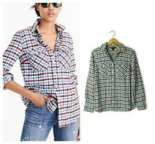 J.Crew size 2 Boyfriend Flannel Plaid Shirt Top Button Front Crimson Petal XS
