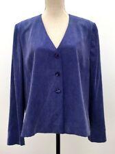 Monsoon size 16 blue silk blazer box jacket 80's power suit casual wear VTG