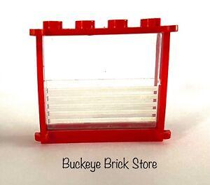 Lego Red Window Frame 1x4x3 w/ 5 White Stripe Pattern - 1966 6373