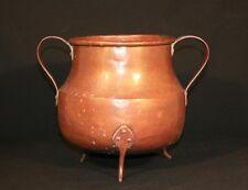 Antique Arts & Crafts Hand Hammered Copper Tri Leg Handled Pot Dovetailed Vessel