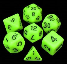 NEW 7 Piece Polyhedral Dice Set - Vile Venom Chartreuse Opaque  Citrus Green Bag