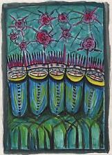 Estudio Abstracto Acuarela Pintura Linda Carmen c1940 Surrealismo