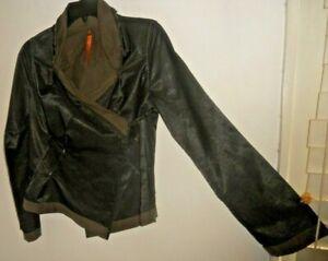 Cop Copine France ~ Art to Wear ~ Bl/Br Satin Feel Wrap Jacket 38