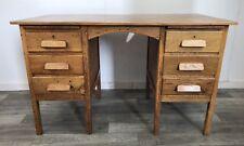 Mid Century, Oak Twin Pedestal Desk, Iconic Industrial Look.