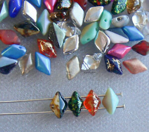 Assorted Colors GemDuo Two Hole 40 Pcs Czech Glass Beads