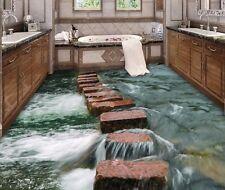 3D Stone River Floor WallPaper Bathroom Mural Wall Print Decal Modern Art Paper