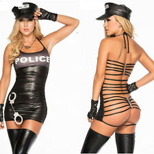 Womens Sexy Lingerie Black Police Dress Cop Uniform PVC Leather Cosplay Costume