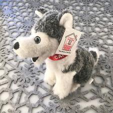 "Stuffed Animal House 7"" Siberian Husky Grey Sitting Smiling Dog Realistic HP-02"