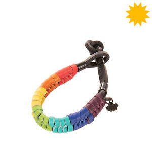 RRP €250 DSQUARED2 Leather Surfer Bracelet Rainbow Woven Toggle Knot
