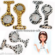 Tunic Fob Watch With Free Battery Animal Print Nurse Watch Fob Silicone Brooch
