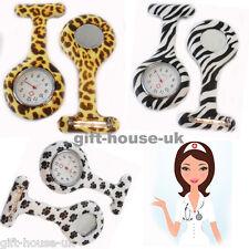 Estampado Animal Enfermera Relojes Silicona Broche de Bolsillo con Gratis Pila