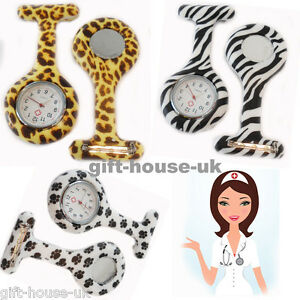 Animal Print Leopard Nurse Watches  Silicone Brooch Tunic Fob Watch FREE BATTERY