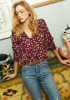 Heartloom Benny Print Top Piping Detail In Feline Size XS New with Tags