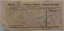 CERTIFICATE OF POSTING OF A REGISTERED POSTAL PACKET 1933 ST HELENS