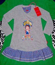 NWT OILILY Tsarina Doll DRESS Sze 92/2Y Baby Girl Gray/Blue Knit Cotton Adorable