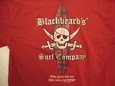 Blackbeard's Surf Company Aruba Surfing Apparel Red Cotton T Shirt Size M