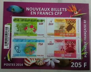 2014 French Polynesia New Banknotes - Marine Life M/S plus 3 stamps MNH