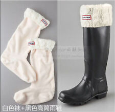 WHITE hunter knit Cuff Welly Long Socks For Tall Rain Boots Liners SIZE:M