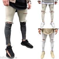 Hommes Délavé Jean Déchiré Noir Pantalon Jeans Coupe Slim Pantalon UK