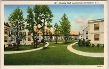 GREENSBORO, North Carolina  NC   COUNTRY CLUB APARTMENTS c1940s Linen Postcard