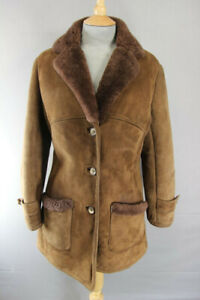 AMAZING QUALITY VINTAGE 1970's BROWN SUEDE LEATHER SHEEPSKIN LINED COAT SIZE 14