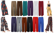 New Plus Size Womens Plain Palazzo Wide Leg Flared Ladies Trousers Pants 8-26
