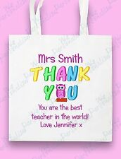 PERSONALISED TEACHER BAG THANK YOU  GIFT BEST TEACHER END OF TERM  LEAVING