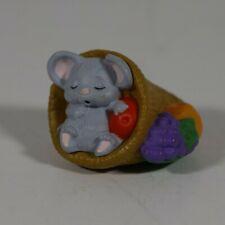 Hallmark Merry Miniatures - 1988 - Sleeping Mouse in Cornucopia