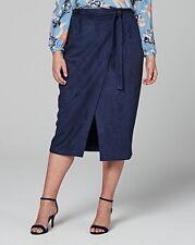 Lovedrobe suedette midi skirt navy uk size 22 (ref hw 136 )