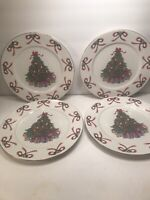 4 GIBSON CHRISTMAS HOLIDAY DINNER  PLATES PORCELAIN 10 1/2''