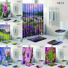 Lavender Flower Shower Curtains Bath Rugs Toilet Seat Cover Bathroom Sets Decor