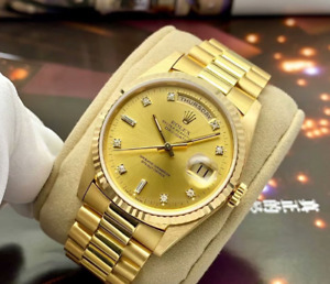 Mens Rolex Day-Date President Solid 18K Yellow Gold Watch Vintage