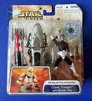 2003 Hasbro STAR WARS CLONE TROOPER & SPEEDER BIKE ACTION FIGURE ~ NEW