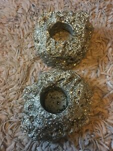 Pyrite Tealight Candle Holder, Unpolished, For the One You Love Protection Reiki
