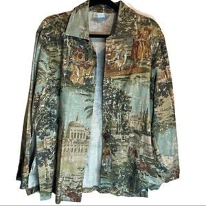 Vintage Linen Tapestry Button Up Jacket Painted Pony Women's Medium Colorful