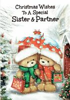 Special SISTER AND PARTNER Quality Christmas Card Cute Bears Design