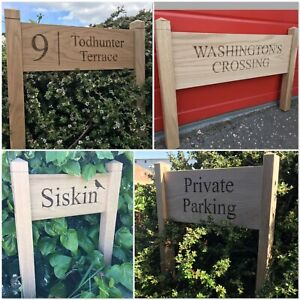 Personalised Oak Post Sign, Carved, Custom Engraved Outdoor Wooden Name Plaque