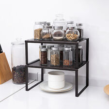 Kitchen Cabinet And Counter Shelf Organizer, Expandable & Stackable 2 Sets