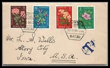 Macau/China 1954 Cover Flower issue to Story city Iowa Postage due