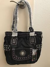 Montana West Studded Bling Beads Flower Western Handbag Purse NWT