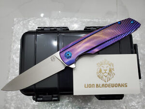 custom specter m390 blade purple anodized titanium flipper tactical pocket knife