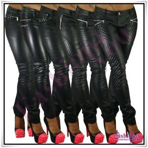 Sexy Women's Faux Leather Trousers Ladies Black Trousers Size 6,8,10,12,14,16 UK