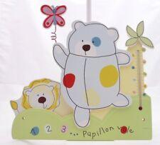 Domiva cadre bois déco motif ours et lion avec thermomètre 30 x 29,5 cm