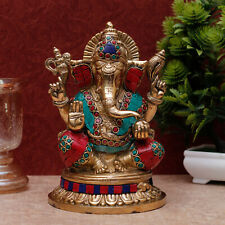 "Ganesha Statue Brass Ganpati Ganesh Idol Elephant God Religious Gift Decor 8"""