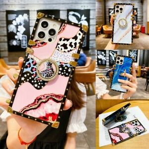 Cute Bling Marble Leopard Square Case w/ Ring For iPhone 12 11 Pro Max XS XR 7 8
