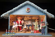 Dollhouse Miniature Artisan Santa's Shop Roombox Filled Toys Doll Figures 1:12